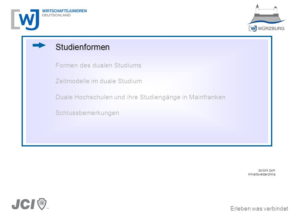 Erleben was verbindet Studienformen Formen des dualen Studiums Zeitmodelle im duale Studium Duale Hochschulen und ihre Studiengänge in Mainfranken Sch
