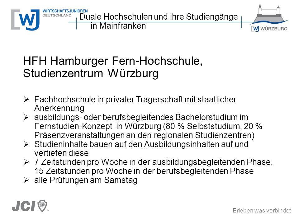 Erleben was verbindet HFH Hamburger Fern-Hochschule, Studienzentrum Würzburg Fachhochschule in privater Trägerschaft mit staatlicher Anerkennung ausbi