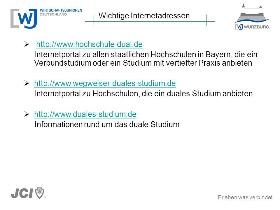 Erleben was verbindet http://www.hochschule-dual.de Internetportal zu allen staatlichen Hochschulen in Bayern, die ein Verbundstudium oder ein Studium