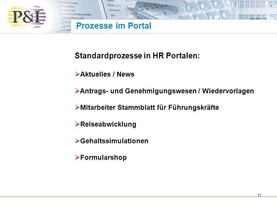 12 Standardprozesse in HR Portalen: Sachmittelverwaltung Bewerbermanagement Ideenmanagement Reports Telefonverzeichnis Suchfunktionen Prozesse im Portal