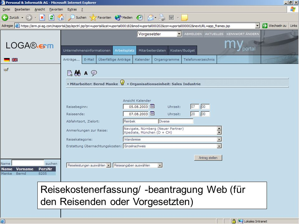 18 Belegerfassung WEB (für den Mitarbeiter oder Vorgesetzten)