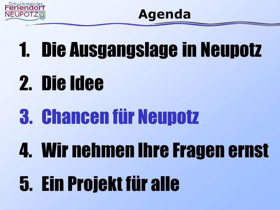 Agenda 1.Die Ausgangslage in Neupotz 2.Die Idee 3.Chancen für Neupotz 4.Wir nehmen Ihre Fragen ernst 5.Ein Projekt für alle