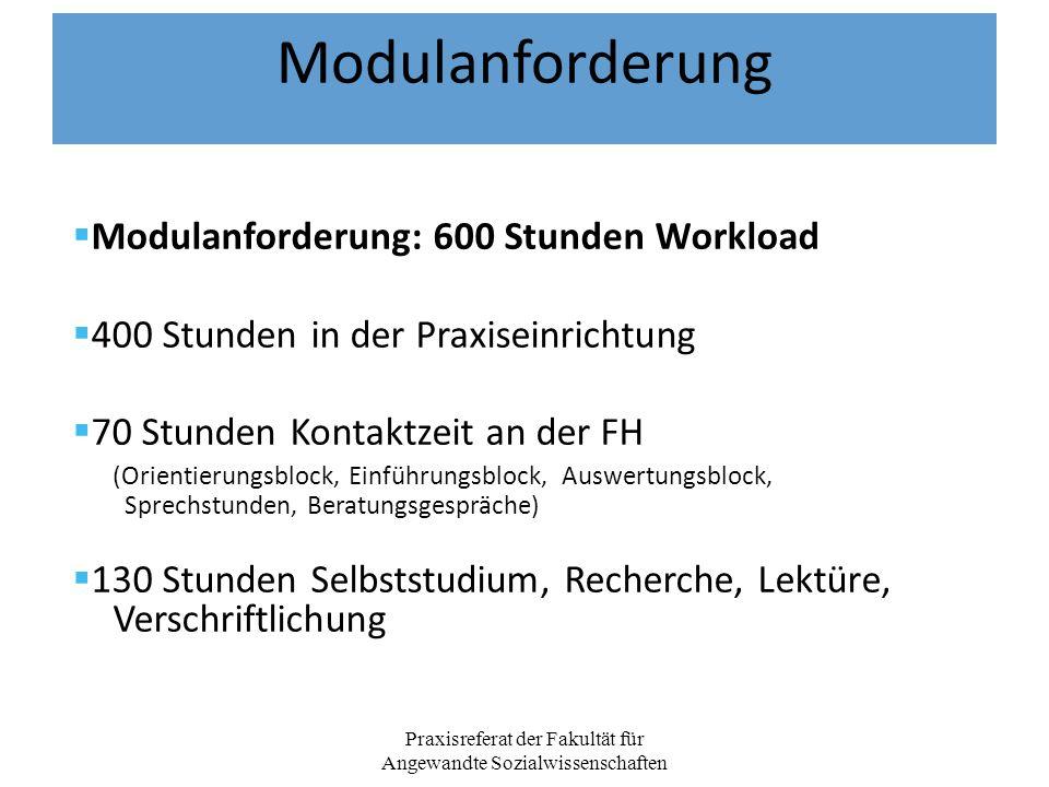 Modulanforderung Modulanforderung: 600 Stunden Workload 400 Stunden in der Praxiseinrichtung 70 Stunden Kontaktzeit an der FH (Orientierungsblock, Ein