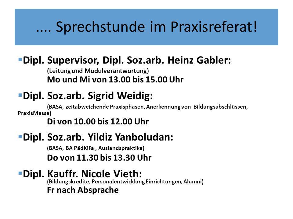 .... Sprechstunde im Praxisreferat! Dipl. Supervisor, Dipl. Soz.arb. Heinz Gabler: (Leitung und Modulverantwortung) Mo und Mi von 13.00 bis 15.00 Uhr