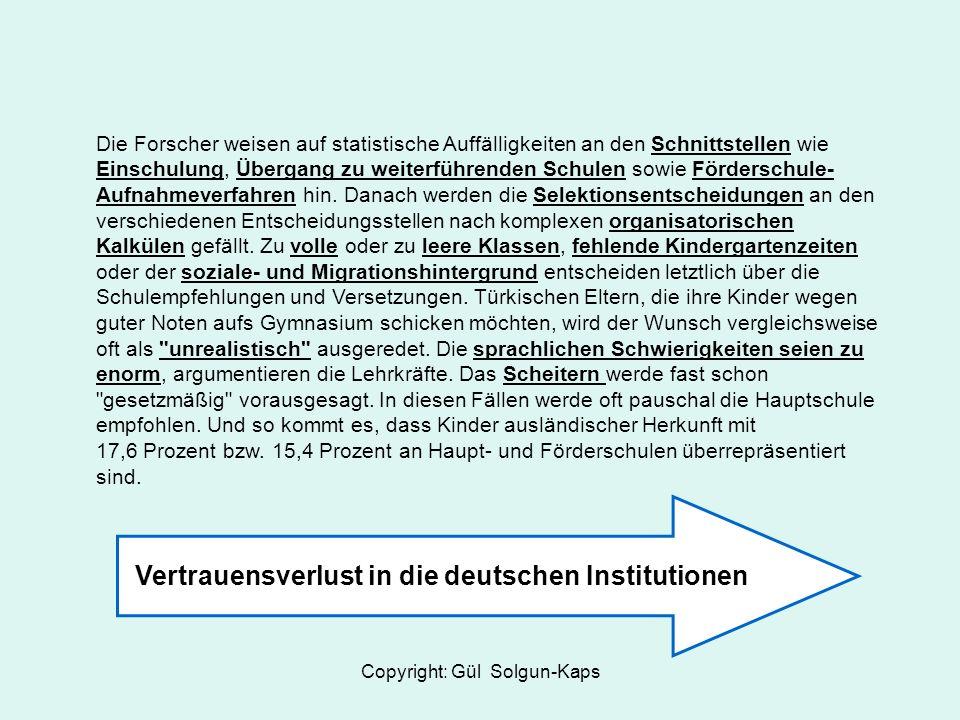 Copyright: Gül Solgun-Kaps Die Forscher weisen auf statistische Auffälligkeiten an den Schnittstellen wie Einschulung, Übergang zu weiterführenden Schulen sowie Förderschule- Aufnahmeverfahren hin.