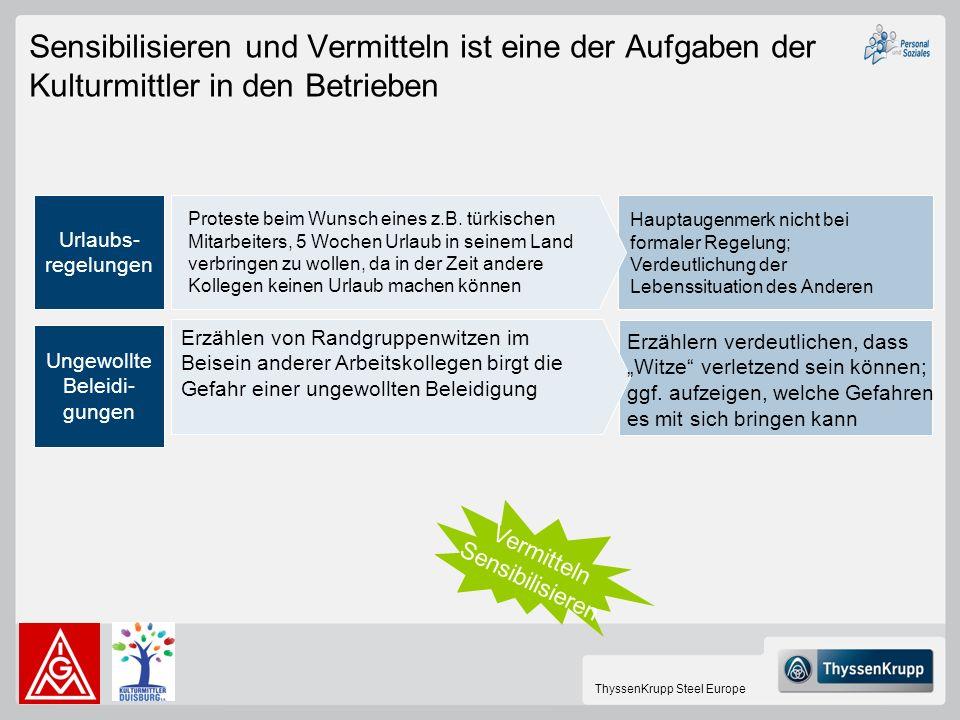 ThyssenKrupp Steel Europe Sensibilisieren und Vermitteln ist eine der Aufgaben der Kulturmittler in den Betrieben Urlaubs- regelungen Ungewollte Belei
