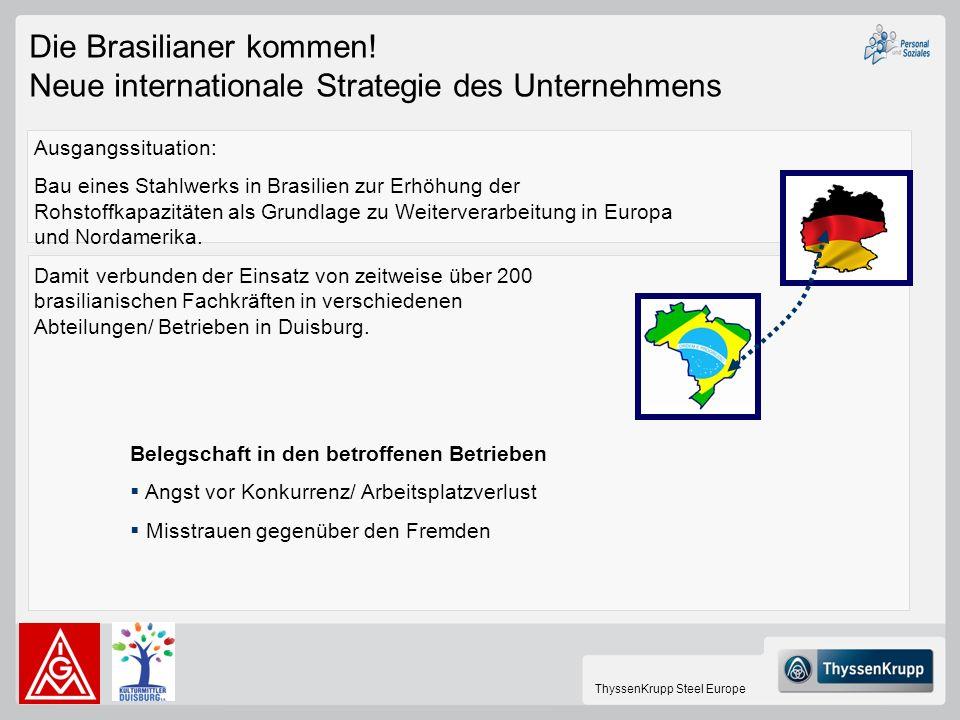 ThyssenKrupp Steel Europe Die Brasilianer kommen! Neue internationale Strategie des Unternehmens Ausgangssituation: Bau eines Stahlwerks in Brasilien