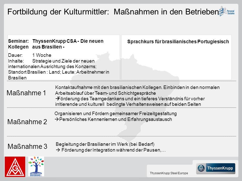 ThyssenKrupp Steel Europe Maßnahme 1 Maßnahme 2 Maßnahme 3 Kontaktaufnahme mit den brasilianischen Kollegen. Einbinden in den normalen Arbeitsablauf ü