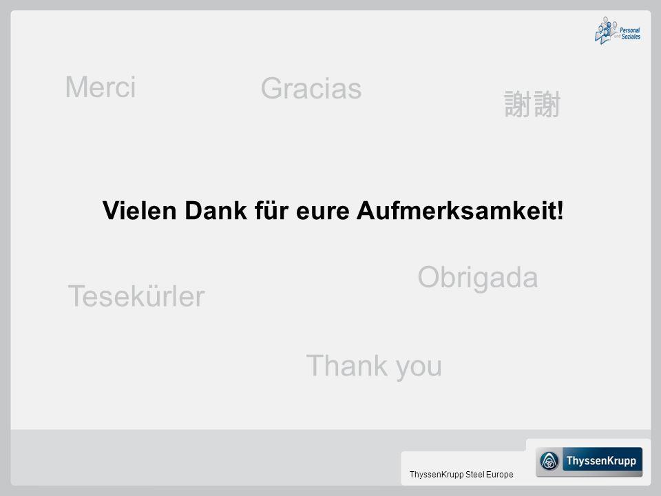 ThyssenKrupp Steel Europe Vielen Dank für eure Aufmerksamkeit! Tesekürler Obrigada Thank you Merci Gracias