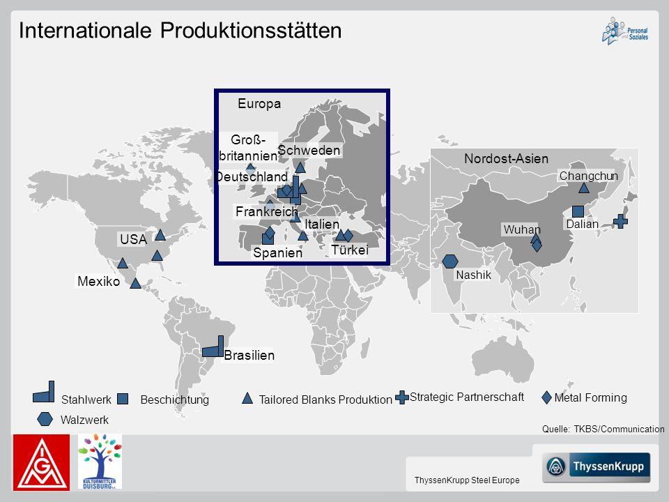 ThyssenKrupp Steel Europe Internationale Produktionsstätten USA Mexiko Spanien Brasilien Wuhan Changchun Dalian Europa Schweden Nordost-Asien Türkei I