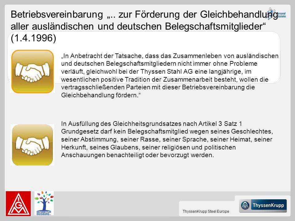 ThyssenKrupp Steel Europe Betriebsvereinbarung.. zur Förderung der Gleichbehandlung aller ausländischen und deutschen Belegschaftsmitglieder (1.4.1996