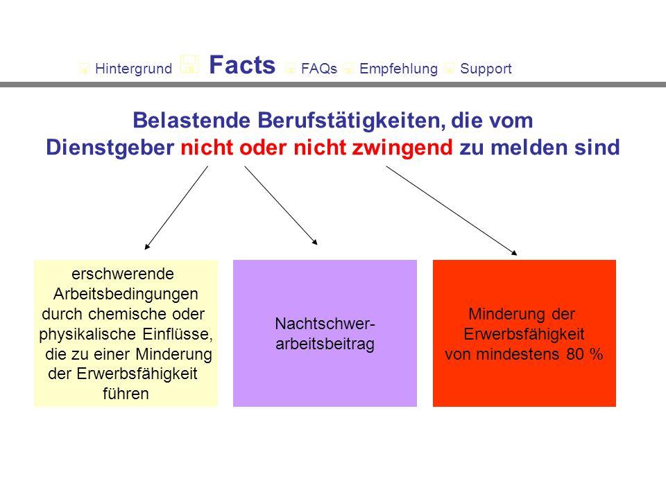 Belastende Berufstätigkeiten, die vom Dienstgeber nicht oder nicht zwingend zu melden sind erschwerende Arbeitsbedingungen durch chemische oder physikalische Einflüsse, die zu einer Minderung der Erwerbsfähigkeit führen Nachtschwer- arbeitsbeitrag Minderung der Erwerbsfähigkeit von mindestens 80 % Hintergrund Facts FAQs Empfehlung Support