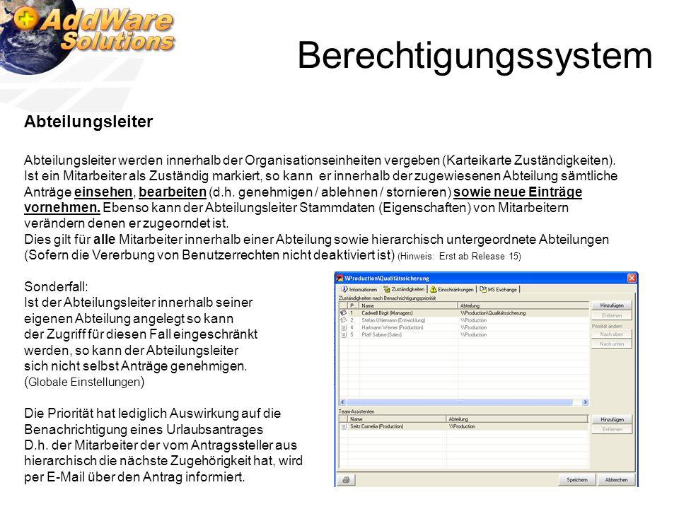 Berechtigungssystem Abteilungsleiter Abteilungsleiter werden innerhalb der Organisationseinheiten vergeben (Karteikarte Zuständigkeiten). Ist ein Mita