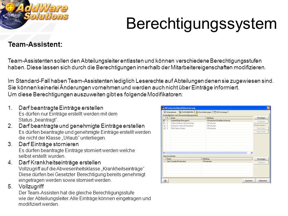 Berechtigungssystem Team-Assistent: Team-Assistenten sollen den Abteilungsleiter entlasten und können verschiedene Berechtigungsstufen haben. Diese la