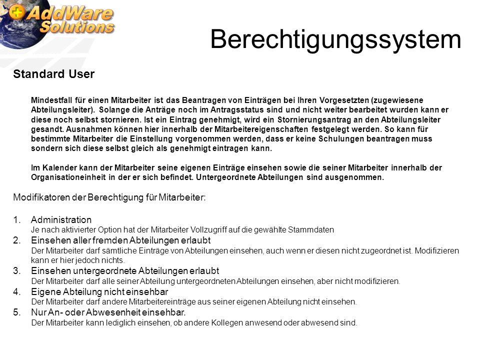 Berechtigungssystem Standard User Mindestfall für einen Mitarbeiter ist das Beantragen von Einträgen bei Ihren Vorgesetzten (zugewiesene Abteilungslei