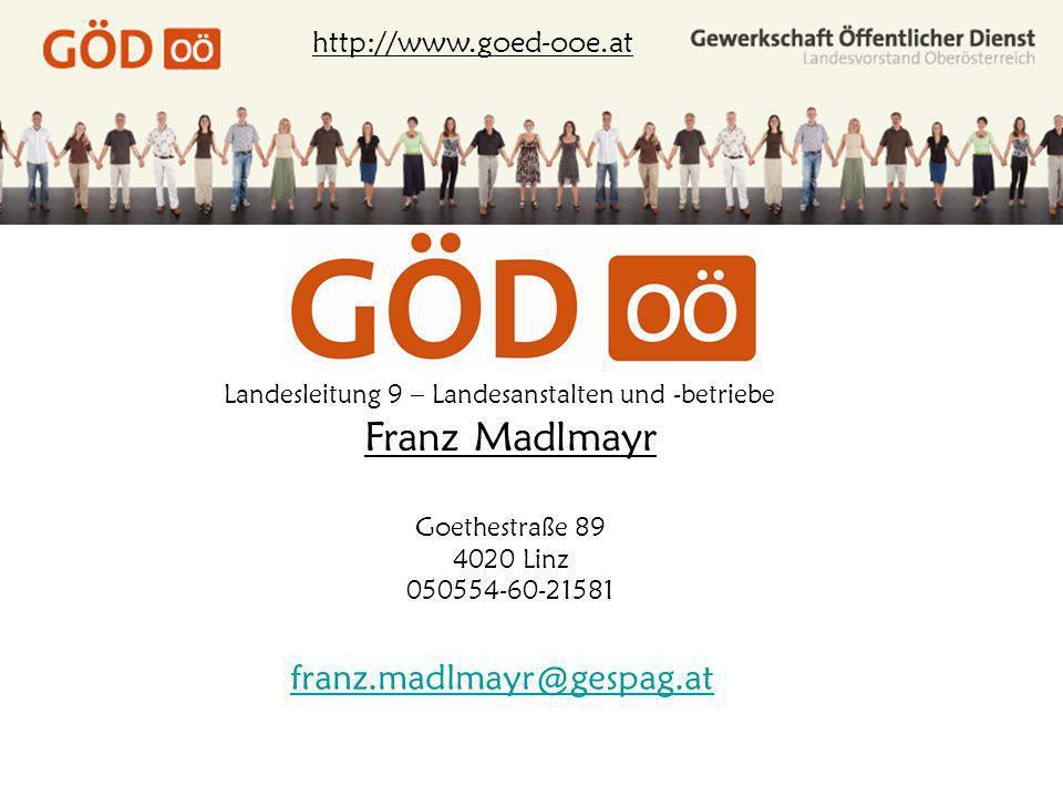 Landesleitung 9 – Landesanstalten und -betriebe http://www.goed-ooe.at Franz Madlmayr Goethestraße 89 4020 Linz 050554-60-21581 franz.madlmayr@gespag.