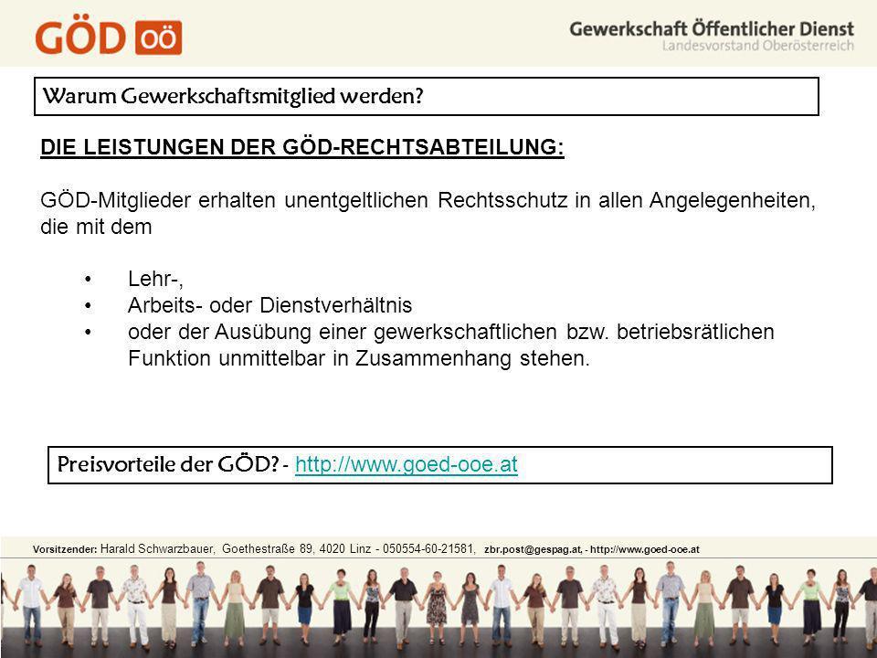 Warum Gewerkschaftsmitglied werden? DIE LEISTUNGEN DER GÖD-RECHTSABTEILUNG: GÖD-Mitglieder erhalten unentgeltlichen Rechtsschutz in allen Angelegenhei