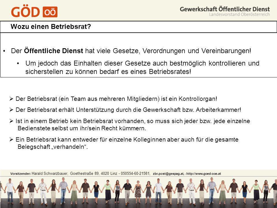 Vorsitzender: Harald Schwarzbauer, Goethestraße 89, 4020 Linz - 050554-60-21581, zbr.post@gespag.at, - http://www.goed-ooe.at Wozu einen Betriebsrat?