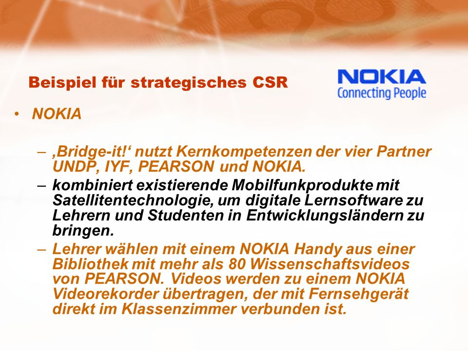 Beispiel für strategisches CSR NOKIA –Bridge-it.