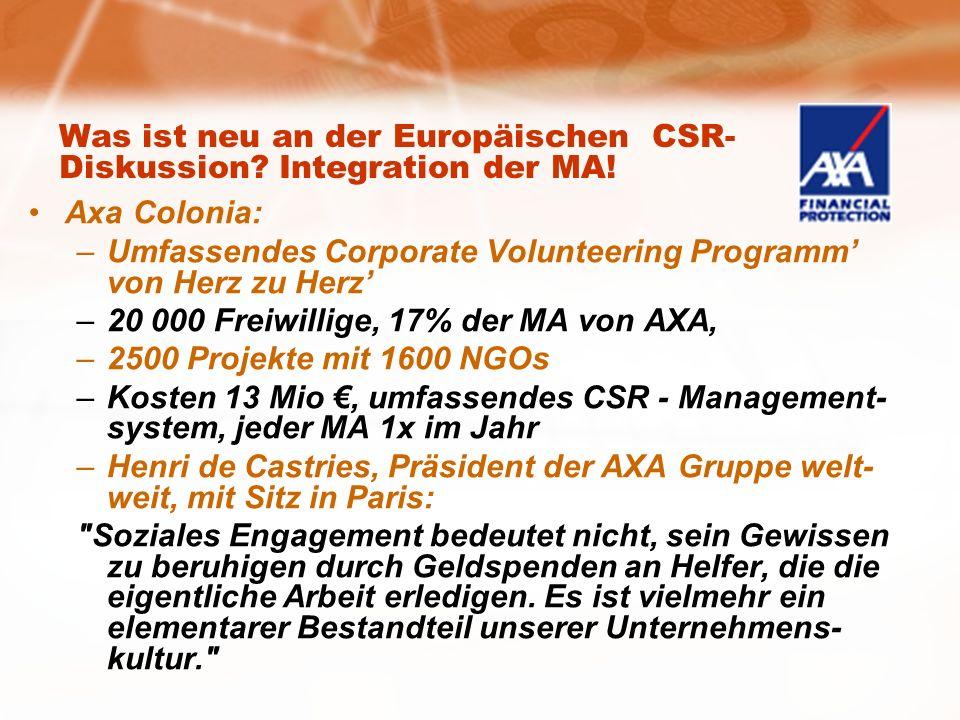 Was ist neu an der Europäischen CSR- Diskussion. Integration der MA.