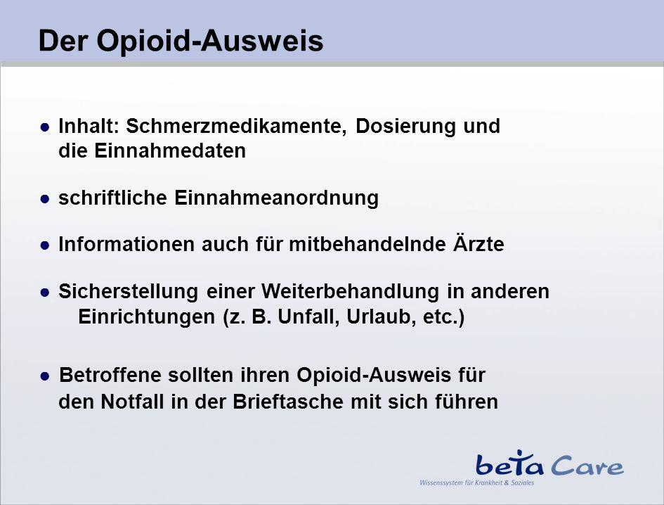 Inhalt: Schmerzmedikamente, Dosierung und die Einnahmedaten schriftliche Einnahmeanordnung Informationen auch für mitbehandelnde Ärzte Sicherstellung
