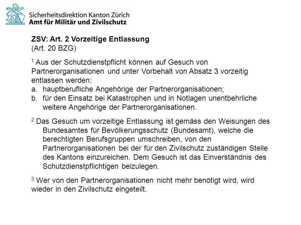 ZSV: Art.2 Vorzeitige Entlassung (Art.