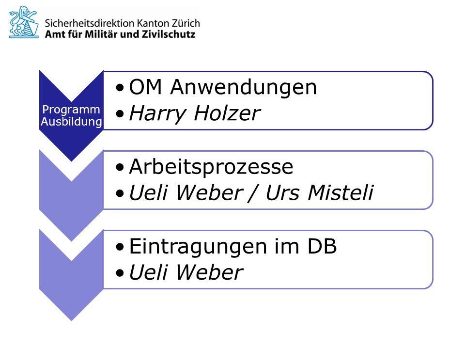Programm Ausbildung OM Anwendungen Harry Holzer Arbeitsprozesse Ueli Weber / Urs Misteli Eintragungen im DB Ueli Weber