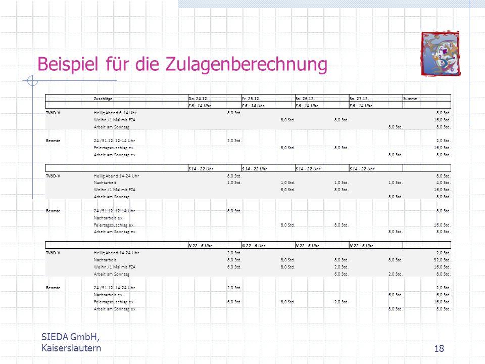SIEDA GmbH, Kaiserslautern18 Beispiel für die Zulagenberechnung ZuschlägeDo. 24.12.Fr. 25.12.Sa. 26.12.So. 27.12.Summe F 6 - 14 Uhr TVöD-VHeilig Abend