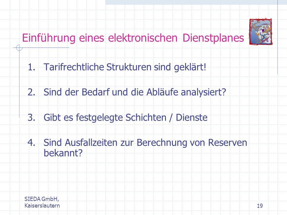 SIEDA GmbH, Kaiserslautern19 Einführung eines elektronischen Dienstplanes 1.Tarifrechtliche Strukturen sind geklärt! 2.Sind der Bedarf und die Abläufe