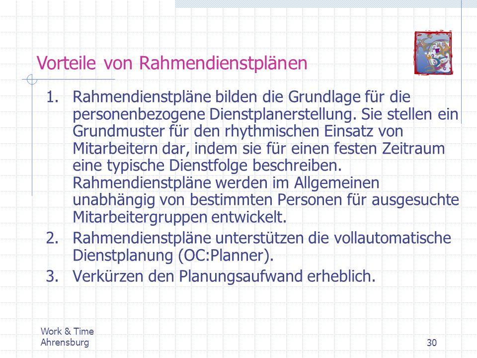 Work & Time Ahrensburg30 Vorteile von Rahmendienstplänen 1.Rahmendienstpläne bilden die Grundlage für die personenbezogene Dienstplanerstellung. Sie s