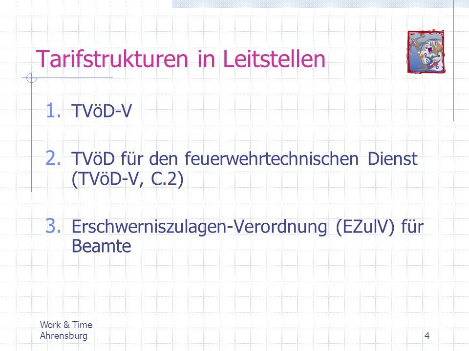 Tarifstrukturen in Leitstellen 1. TVöD-V 2. TVöD für den feuerwehrtechnischen Dienst (TVöD-V, C.2) 3. Erschwerniszulagen-Verordnung (EZulV) für Beamte