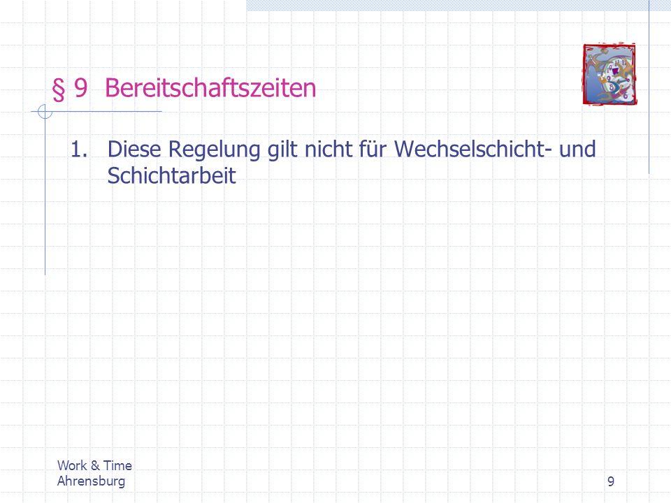 Work & Time Ahrensburg20 Einführung von Dienstplansystemen Vorplanung Dienstplan Ist-Daten OPA (Definition von Diensten) SPA (Definition von Schichtfolgen) Dienstplanung (Rahmendienstplan)