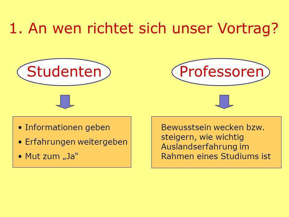 1. An wen richtet sich unser Vortrag. StudentenProfessoren Bewusstsein wecken bzw.