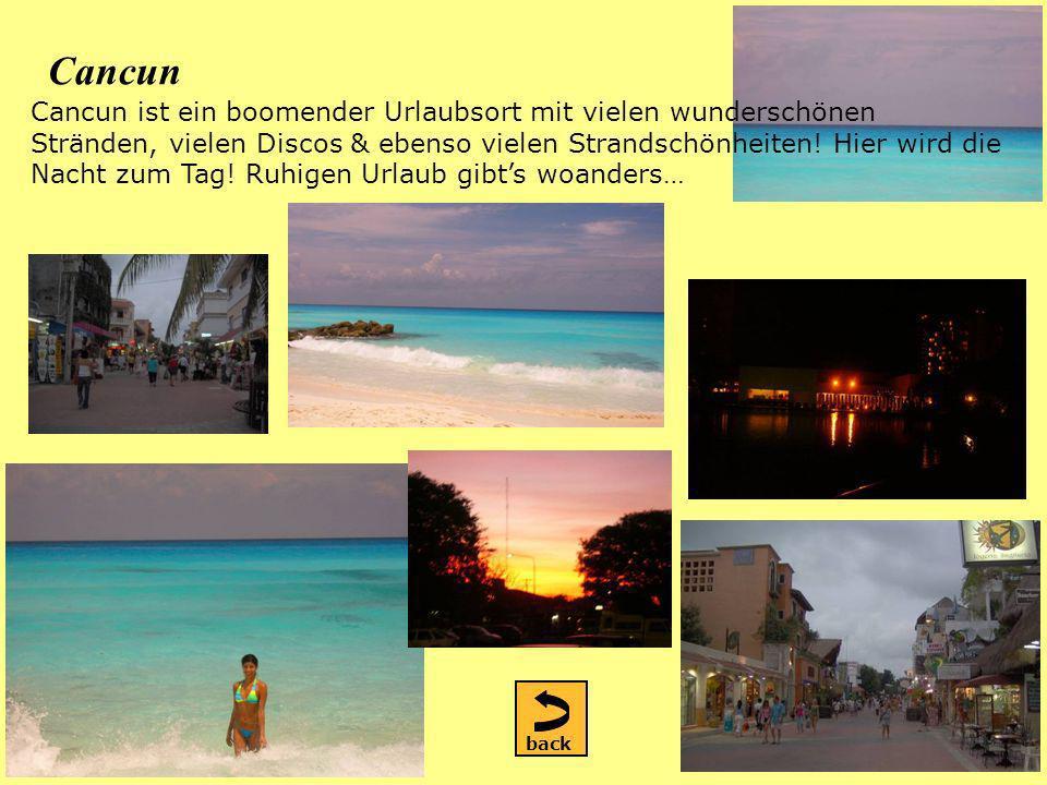 Cancun Cancun ist ein boomender Urlaubsort mit vielen wunderschönen Stränden, vielen Discos & ebenso vielen Strandschönheiten.