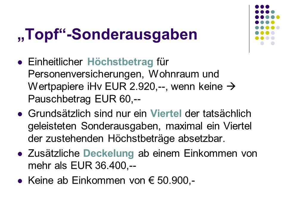 Einheitlicher Höchstbetrag für Personenversicherungen, Wohnraum und Wertpapiere iHv EUR 2.920,--, wenn keine Pauschbetrag EUR 60,-- Grundsätzlich sind