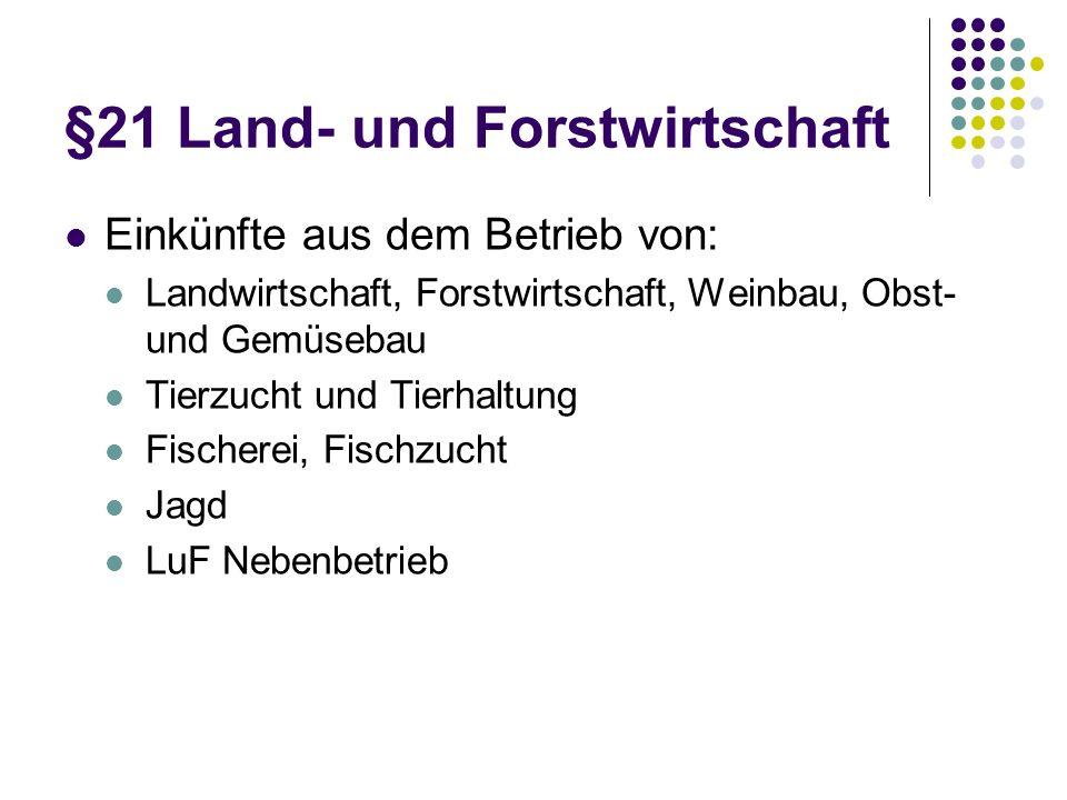 §21 Land- und Forstwirtschaft Einkünfte aus dem Betrieb von: Landwirtschaft, Forstwirtschaft, Weinbau, Obst- und Gemüsebau Tierzucht und Tierhaltung F