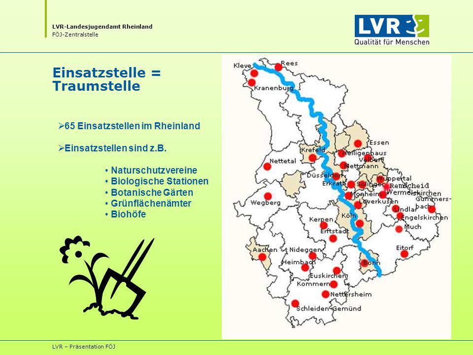 LVR-Landesjugendamt Rheinland FÖJ-Zentralstelle LVR – Präsentation FÖJ Einsatzstelle = Traumstelle 65 Einsatzstellen im Rheinland Einsatzstellen sind z.B.