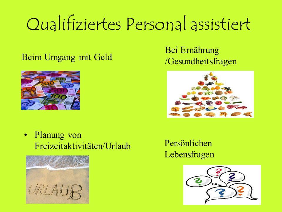 Qualifiziertes Personal assistiert Planung von Freizeitaktivitäten/Urlaub Beim Umgang mit Geld Bei Ernährung /Gesundheitsfragen Persönlichen Lebensfra