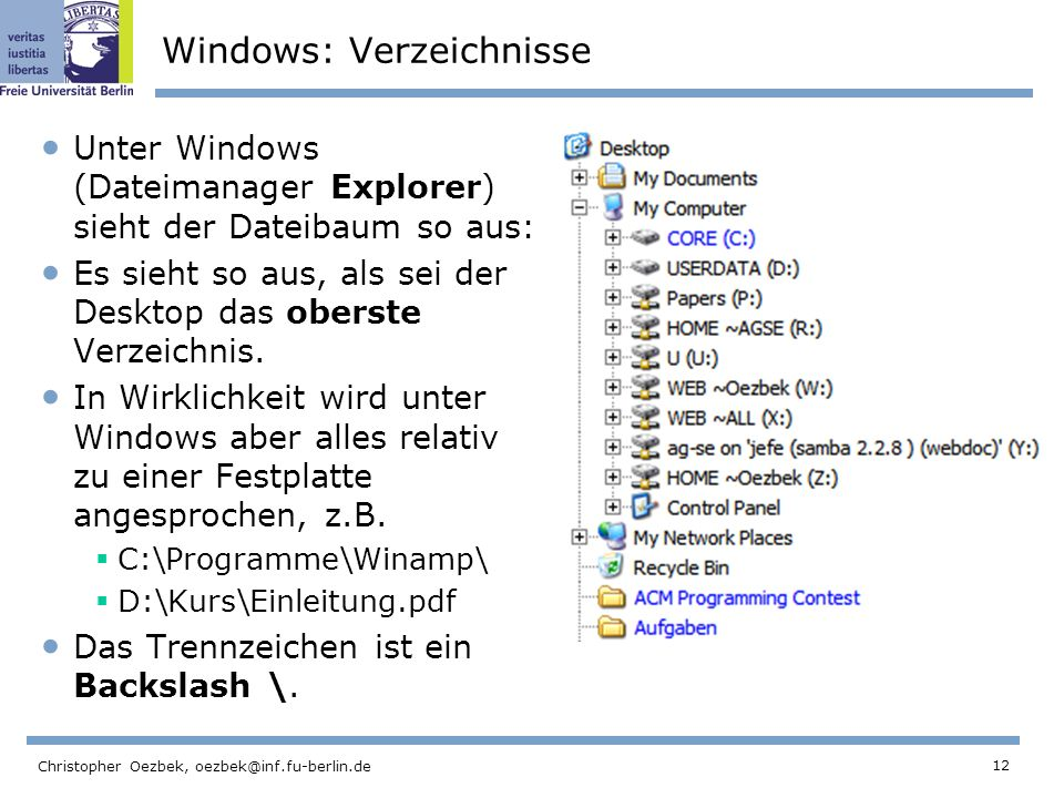 12 Christopher Oezbek, oezbek@inf.fu-berlin.de Windows: Verzeichnisse Unter Windows (Dateimanager Explorer) sieht der Dateibaum so aus: Es sieht so aus, als sei der Desktop das oberste Verzeichnis.