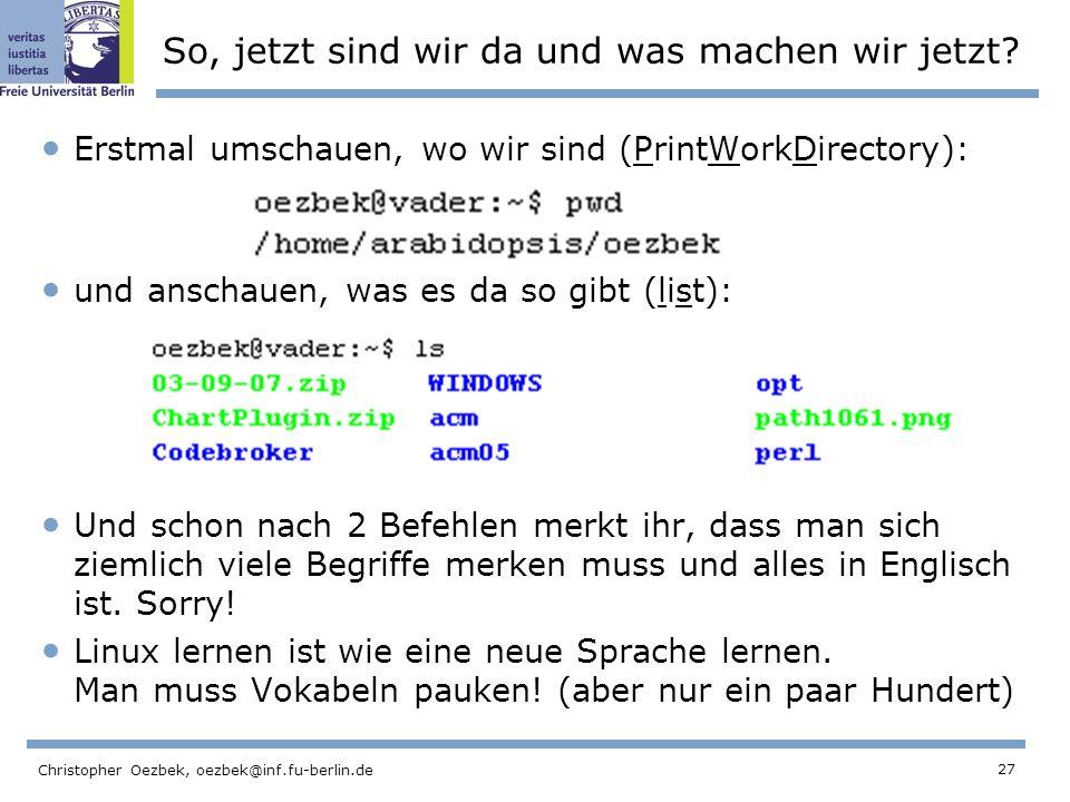 27 Christopher Oezbek, oezbek@inf.fu-berlin.de So, jetzt sind wir da und was machen wir jetzt.