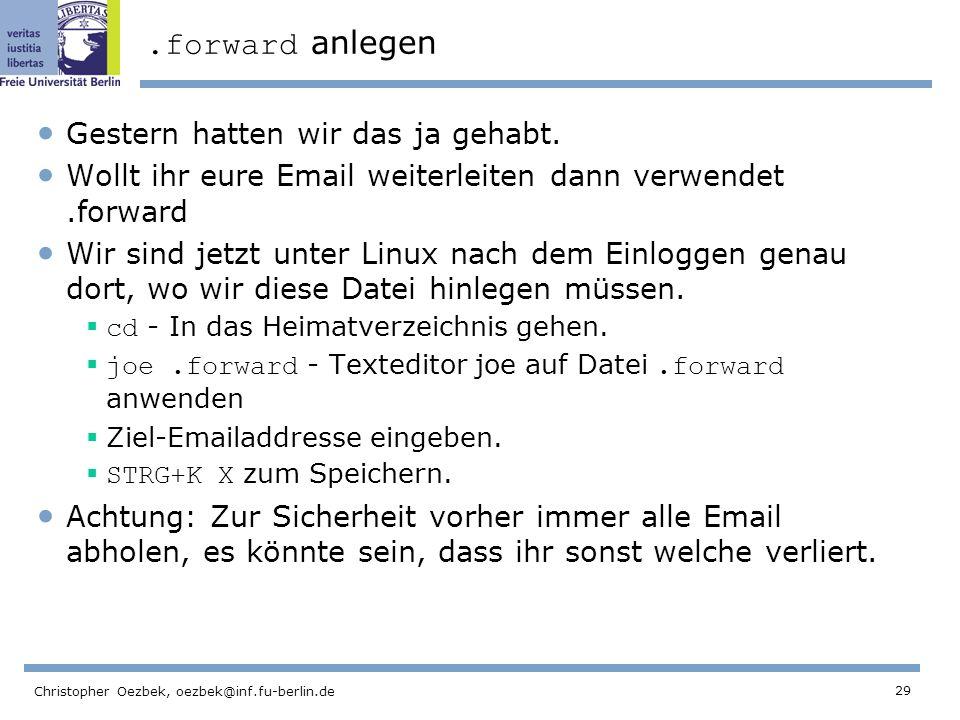 29 Christopher Oezbek, oezbek@inf.fu-berlin.de.forward anlegen Gestern hatten wir das ja gehabt.