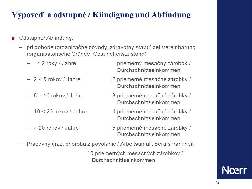 12 Výpoveď a odstupné / Kündigung und Abfindung Odstupné/ Abfindung: –pri dohode (organizačné dôvody, zdravotný stav) / bei Vereinbarung (organisatorische Gründe, Gesundheitszustand) – < 2 roky / Jahre1 priemerný mesačný zárobok / Durchschnittseinkommen –2 < 5 rokov / Jahre 2 priemerné mesačné zárobky / Durchschnittseinkommen –5 < 10 rokov / Jahre 3 priemerné mesačné zárobky / Durchschnittseinkommen –10 < 20 rokov / Jahre 4 priemerné mesačné zárobky / Durchschnittseinkommen –> 20 rokov / Jahre 5 priemerné mesačné zárobky / Durchschnittseinkommen –Pracovný úraz, choroba z povolanie / Arbeitsunfall, Berufskrankheit 10 priemerných mesačných zárobkov / Durchschnittseinkommen