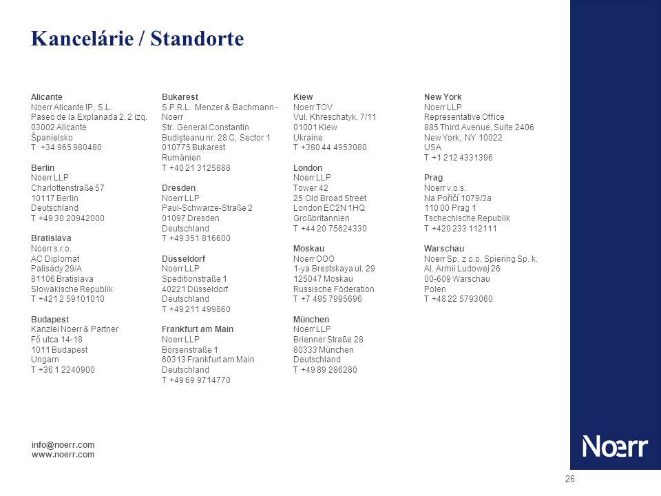 26 Kancelárie / Standorte Alicante Noerr Alicante IP, S.L.