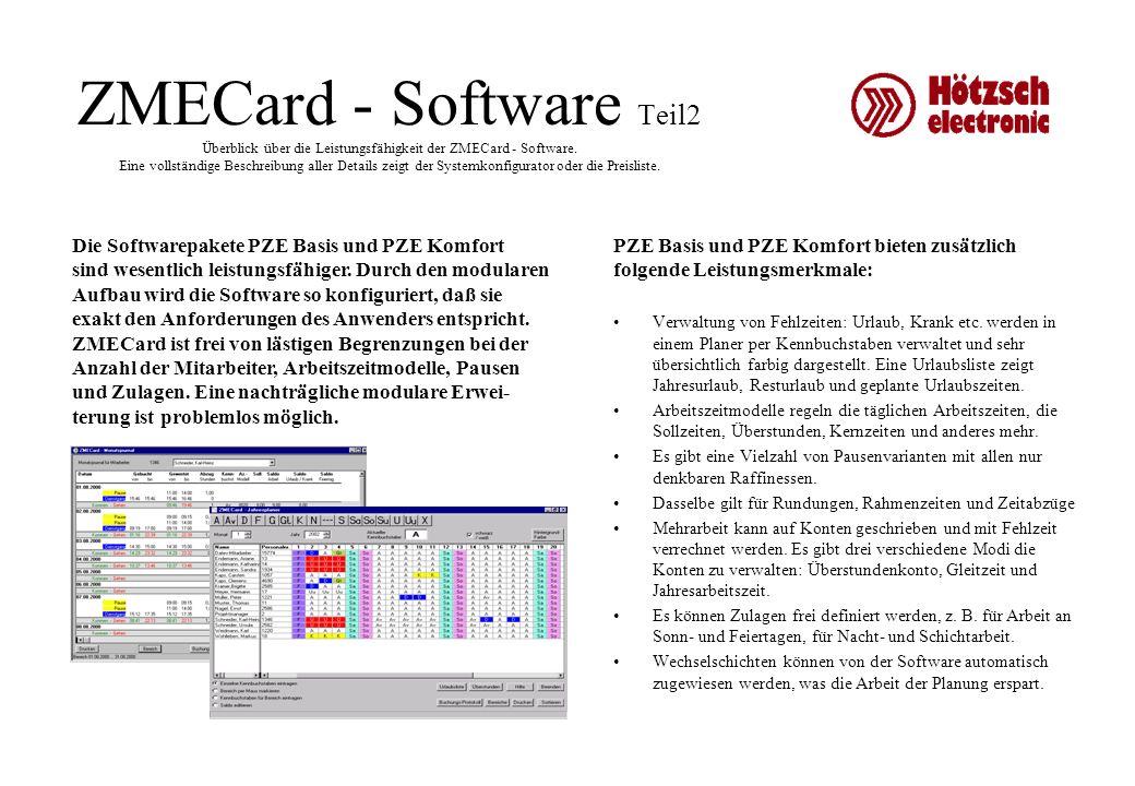 ZMECard - Software Teil2 Überblick über die Leistungsfähigkeit der ZMECard - Software. Eine vollständige Beschreibung aller Details zeigt der Systemko