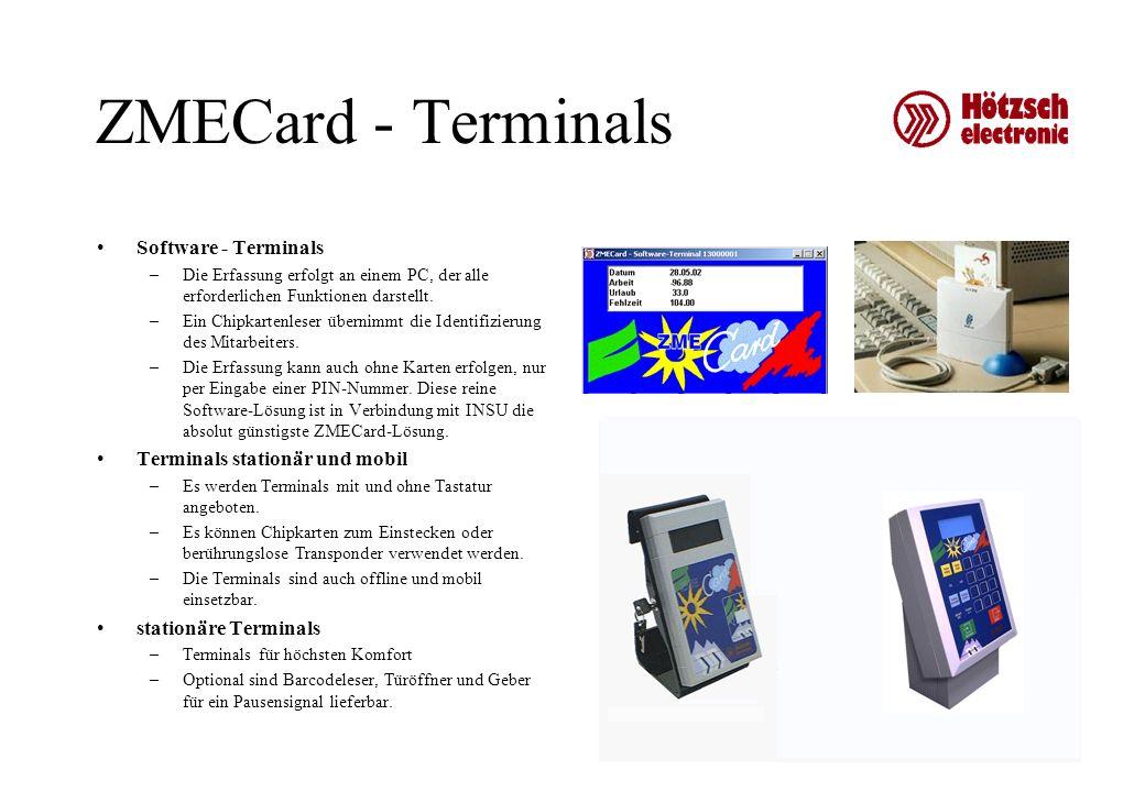 ZMECard - Terminals Software - Terminals –Die Erfassung erfolgt an einem PC, der alle erforderlichen Funktionen darstellt. –Ein Chipkartenleser überni