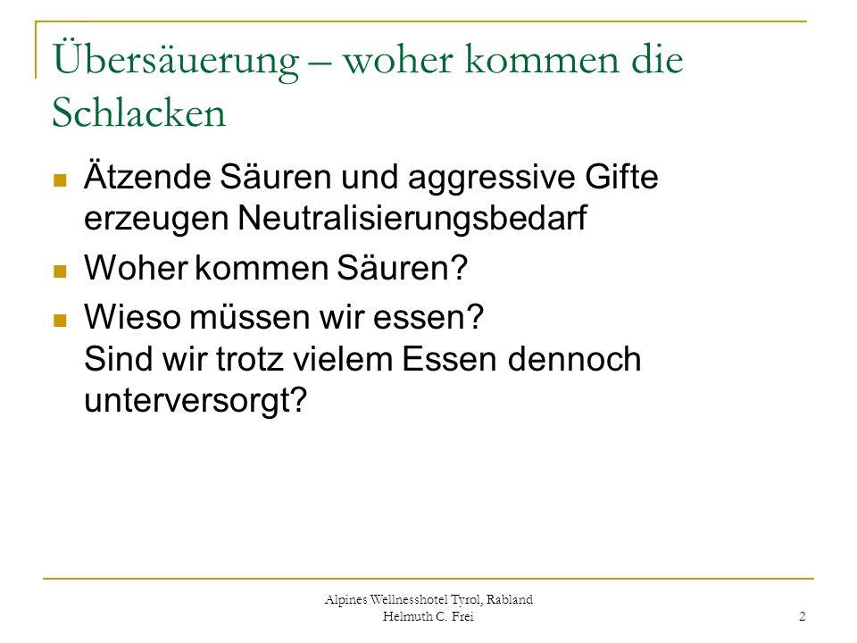 Alpines Wellnesshotel Tyrol, Rabland Helmuth C. Frei 2 Übersäuerung – woher kommen die Schlacken Ätzende Säuren und aggressive Gifte erzeugen Neutrali