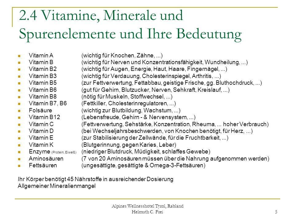 Alpines Wellnesshotel Tyrol, Rabland Helmuth C. Frei 5 2.4 Vitamine, Minerale und Spurenelemente und Ihre Bedeutung Vitamin A (wichtig für Knochen, Zä