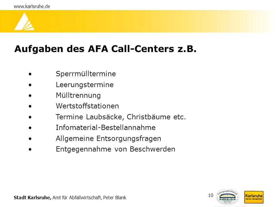 Stadt Karlsruhe, Amt für Abfallwirtschaft, Peter Blank www.karlsruhe.de 10 Aufgaben des AFA Call-Centers z.B. Sperrmülltermine Leerungstermine Mülltre