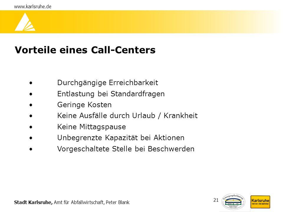 Stadt Karlsruhe, Amt für Abfallwirtschaft, Peter Blank www.karlsruhe.de 21 Vorteile eines Call-Centers Durchgängige Erreichbarkeit Entlastung bei Stan