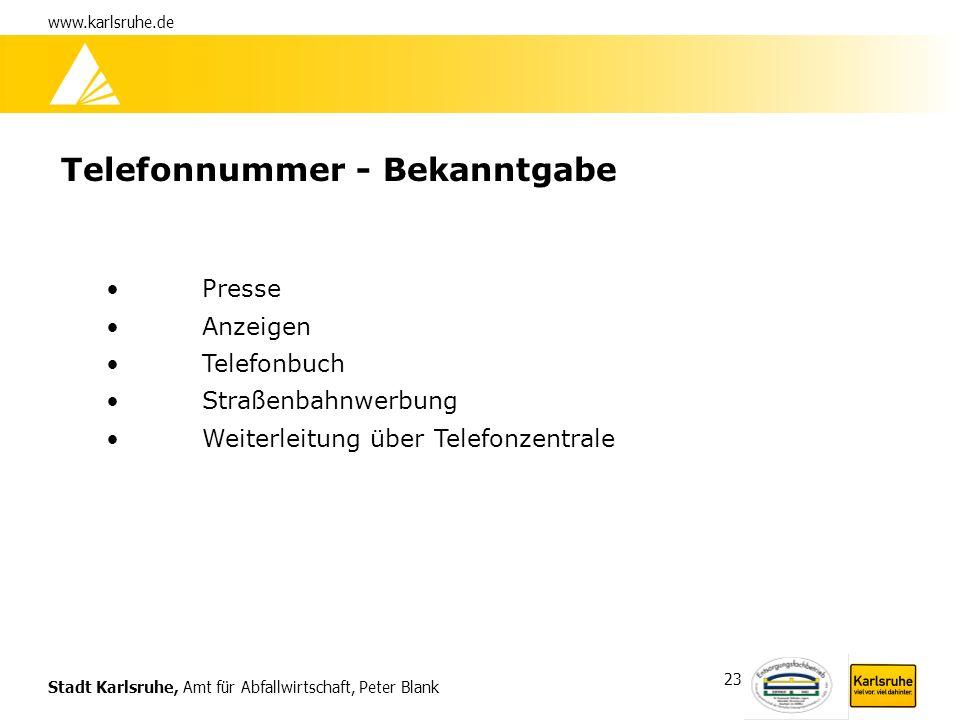 Stadt Karlsruhe, Amt für Abfallwirtschaft, Peter Blank www.karlsruhe.de 23 Telefonnummer - Bekanntgabe Presse Anzeigen Telefonbuch Straßenbahnwerbung